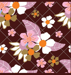 whitepinkorange flowers green grid and dark red vector image