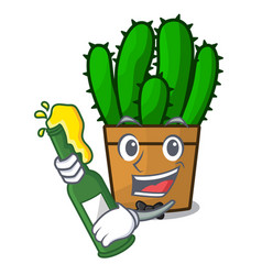 With beer the beautiful spurge cactus plant vector