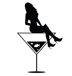 woman on martini in black vector image