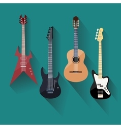 Acoustic and electric guitars set in flat style vector image