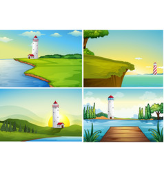 four nature scenes with lighthouse by the ocean vector image