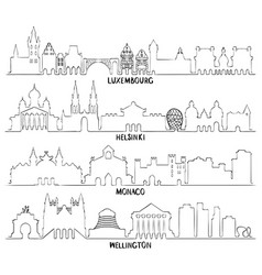 luxembourg helsinki monaco and wellington vector image