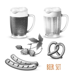 Beer set black and white vector image vector image