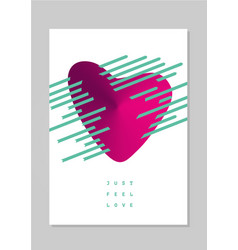 love poster with heart card for valentines day vector image vector image