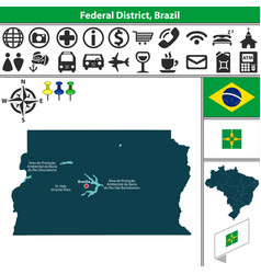 map of federal district brazil vector image vector image