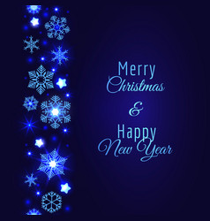 merry christmas card with blue snowflake vector image vector image