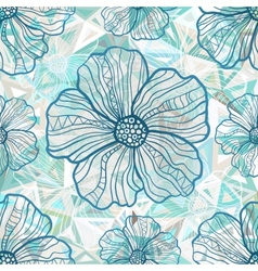 Ornate blue flowers on abstract triangles vector image