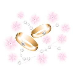 vector golden wedding rings with diamonds vector image vector image