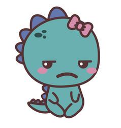 A dinosaur sad girl vector
