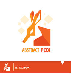 abstract fox icon symbol vector image vector image