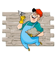 cartoon cheerful male worker with tool vector image vector image