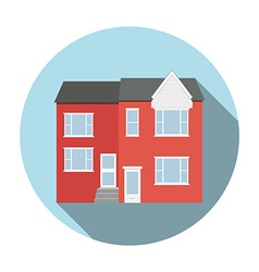 Duplex house flat icon with long shadow Circle vector image