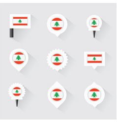 lebanon flag and pins for infographic and map vector image