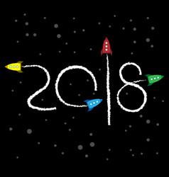 new year 2018 concept - cartoon rockets in space vector image vector image