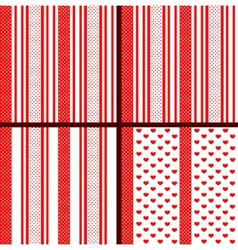 red striped heart patterns vector image vector image