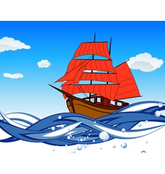 Sailboat With Scarlet Sail vector image