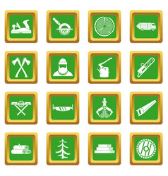 timber industry icons set green vector image