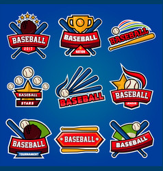 baseball logotypes with equipments poster on blue vector image vector image
