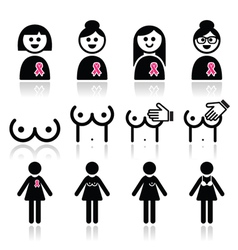 Breast cancer woman with pink ribbon icons set vector image
