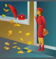desire to buy a red handbag - girls shopping vector image