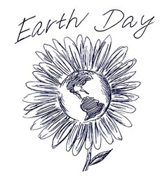 Hand sketch flower and planet earth vector image vector image