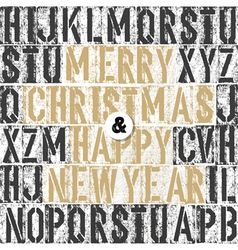 merry christmas retro letterpress card vector image vector image
