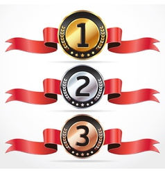 Set of Medal Numbers with ribbon vector image vector image