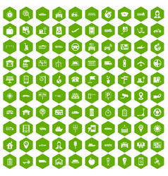100 navigation icons hexagon green vector