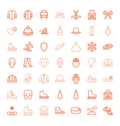 49 winter icons vector image