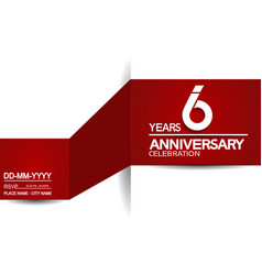 6 years anniversary design with red and white vector