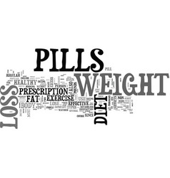 a pill a day approach to weight loss text word vector image