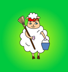 A sheep housewife with a bucket and a mop drawing vector