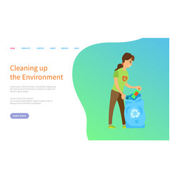 activist scavenging bag with trash caring vector image