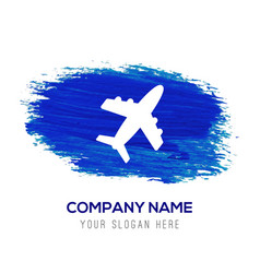 airplane icon - blue watercolor background vector image