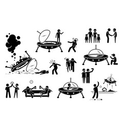 Alien ufo and human first contact and become vector