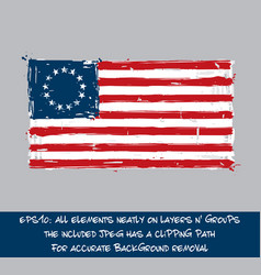 American betsy ross flag flat - artistic brush vector