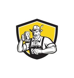 Bavarian Beer Drinker Oktoberfest Crest Retro vector