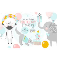 Birthday invitation with cute zebra dog and vector
