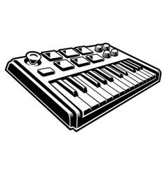 Black and white of midi keyboard vector