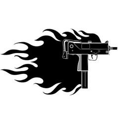 black silhouette a uzi vector image