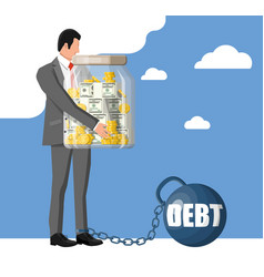 businessman chained to big heavy debt weight vector image