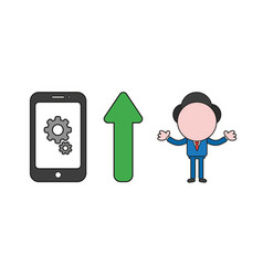 businessman character with gears inside vector image