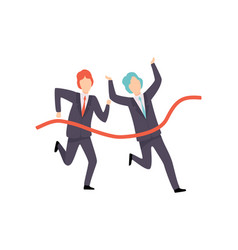 businessmen running to finish line business vector image