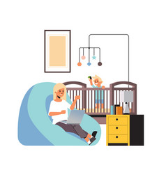 Busy mother freelancer working at home using vector