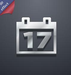 Calendar Date or event reminder icon symbol 3D vector image