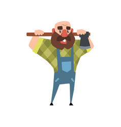 cartoon character of bearded man with axe funny vector image