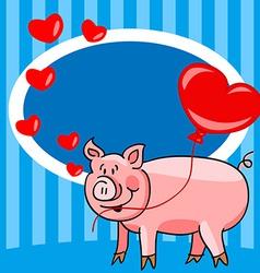 Cartoon pig love card vector
