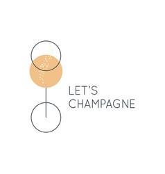 Champagne glass logo lets champagne on white vector