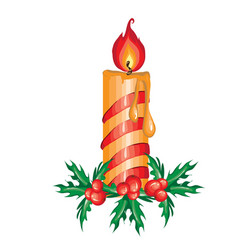 Christmas sketch with burning candle on leaves of vector