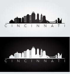 cincinnati usa skyline and landmarks silhouette vector image